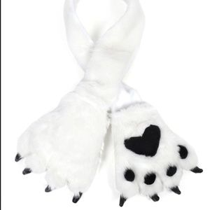 Accessories - Animal Fur Scarf with Paw Mitten